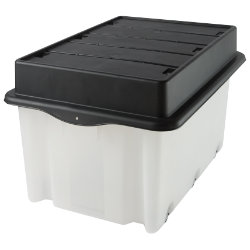 Strata Mega Crate Trunk Lid Plastic Storage Box 75 Litre Clear with black lid