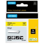Dymo Rhino Labels Black on Yellow 12mm x 55m Vinyl