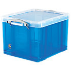Really Useful Box polypropylene plastic storage box 35 litre 310 x 390 x 480mm H x W x D in blue