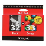 Lexmark 32 33 Black and Colour Ink Cartridge Multipack 80D2951