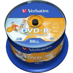 Verbatim DVD R 16X 47GB Spindle 50 Pack