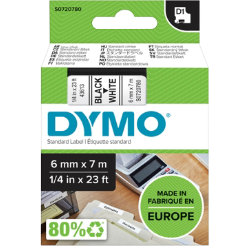 Dymo D1 Labels Black On White 6mm x 7m