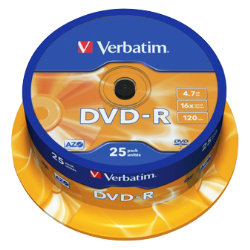 Verbatim DVD R 16X 47GB Spindle 25 Pack
