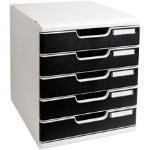 Modulo A4 expandable 5 drawer set light grey black