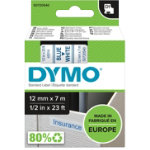 Dymo D1 Labels Blue On White 12mm x 7m