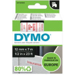 Dymo D1 Labels Red On White 12mm x 7m
