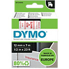 DYMO D1 Labels 45015 12 mm x 7 m Red White