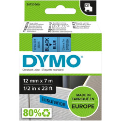 Dymo D1 Labels Black On Blue 12mm x 7m