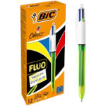 BIC Ballpoint Pen 4 Colours Fluo Black Blue Red Yellow Pack 12