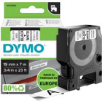 Dymo D1 Labels Black On White 19mm x 7m