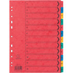 Europa Pressboard Dividers Coloured A4 12 Part 1 12 Numbered Set