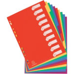 Exacompta Dividers 4810E A4 Assorted 10 tabs 4 Holes PP Blank