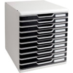 Modulo A4 expandable 10 drawer set light grey black