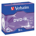 Verbatim DVDR 16X 47GB Jewelcase 5 Pack
