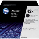 Original HP Q5942XD black laser toner cartridge twin pack HP No42X