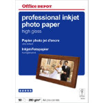 Office Depot Professional Inkjet Photo Paper High Gloss A4 280gsm