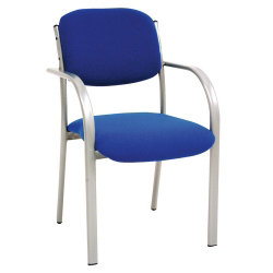 GGI Titan Silver Frame Cantilever Stacking Chair with Arms Fabric Blue 2 pk