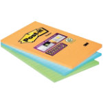 Post it Note Super Sticky Green pink blue Ruled 101 x 152 mm