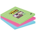 Post It Super Sticky Lined Notes in Ultra Bright Green and Pink 100 x 100mm 3 Pads Per Pack