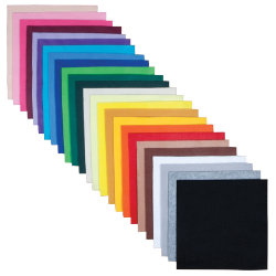 Felt Shapes 100 sheets 30 x 30cm in 25 colours