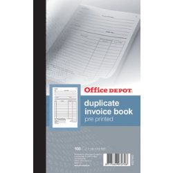 Office Depot pre printed 210 x 130mm invoice book with VAT column 100 sheet sets
