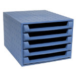 Exacompta Multiform Forever A4 desktop 5 drawer set recycled plastic Cobalt Blue