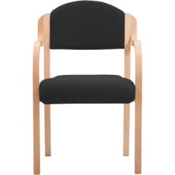 Beech Effect Melamine Frame Stacking Chair with Arms Fabric Black