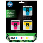 Original HP No363 tri colour cyan magenta yellow printer ink cartridge CB333EE