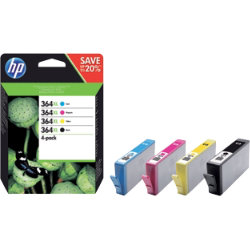 HP 364XL Original Black & 3 Colours Ink Cartridge N9J74AE