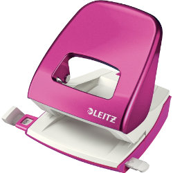 Leitz NeXXt Series WOW Metal Office 2 Hole Punch  Metallic Pink  30 sheets