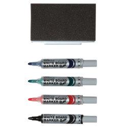 Pentel® Maxiflo pump action drywipe marker eraser set of 4 markers