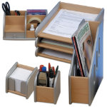 Wooden Silver Desk Accessory Bundle Deal