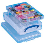 Really Useful Storage Box Plastic 4 Litre With 2 Hobby Dividers H88x W255x D395mm Clear