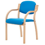 Pack 2 Titan Wood Frame Arm Chair Blue