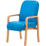 Nova Wood Frame Reception Chair Blue with arms