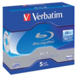 Verbatim Blu Ray discs BD R 25GB jewel case 5 pack