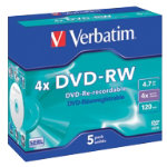 Verbatim DVDRW 16X 47GB jewel case 5 pack