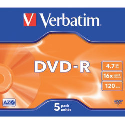 Verbatim DVDR 16X 47GB jewel case 5 pack