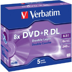 Verbatim DVDR 8X 85GB jewel case 5 Pack