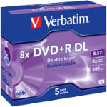Verbatim DVDR 8X 85GB Jewelcase 5 Pack