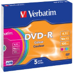 Verbatim DVDR 16X 47GB Slim Wrap 5 Pack
