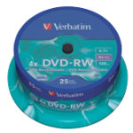 Verbatim DVDRW 16X 47GB Spindle 25 Pack