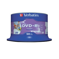 Verbatim DVDR 16X 47GB Printable Spindle 50 Pack