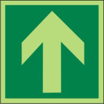 Exit down left sign 300 x 150mm Self Adheisive Vinyl