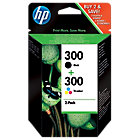 Original HP No300 black and tri colour yellow cyan magenta printer ink cartridge twinpack CN637EE