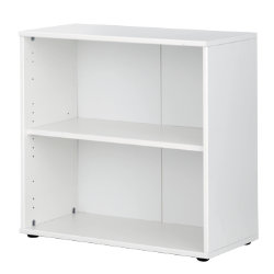 Bush Black & White office furniture range Single shelf bookcase (white effect)