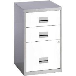 White with Silver Cabinet 3 Drawer A4 Filing Cabinet 660H x 400W x 400D mm