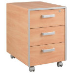 Mobile 3 drawer pedestal STRIPE Applewood
