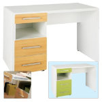 2 drawer desk 1 sliding shelf 1 recess EASY white beech lime green drawer
