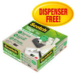 Scotch Magic tape C38 recycled hands free dispenser  14 rolls of tape 19mm x 33m